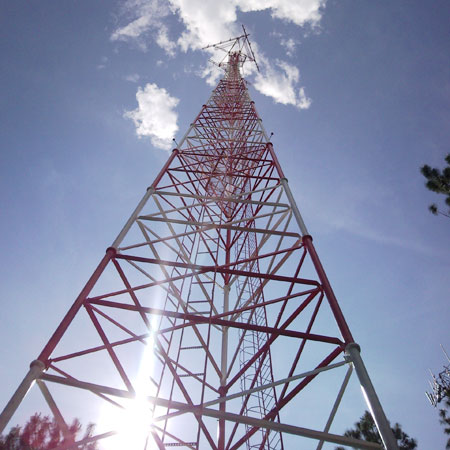 20-100m high lattice angle steel telecommunication tower with platforms and ladder systerm