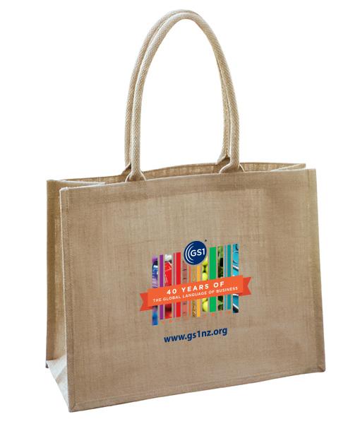 Reusable printed burlap farmers market tote bag