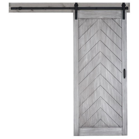 Stained Gray Solid Core Soft Close Pine Barn Style Closet Door