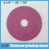 Pink aluminum oxide grinding wheel for chainsaw sharpening