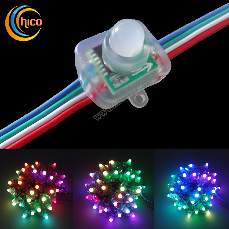 12mm square led pixel light Full Color RGB LED Pixel module Light With IC WS2801 6803 9813 DMX512
