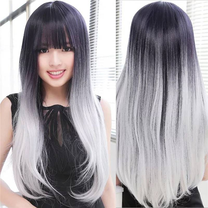 Popular ombre color grey harajuku natural straight hair wig