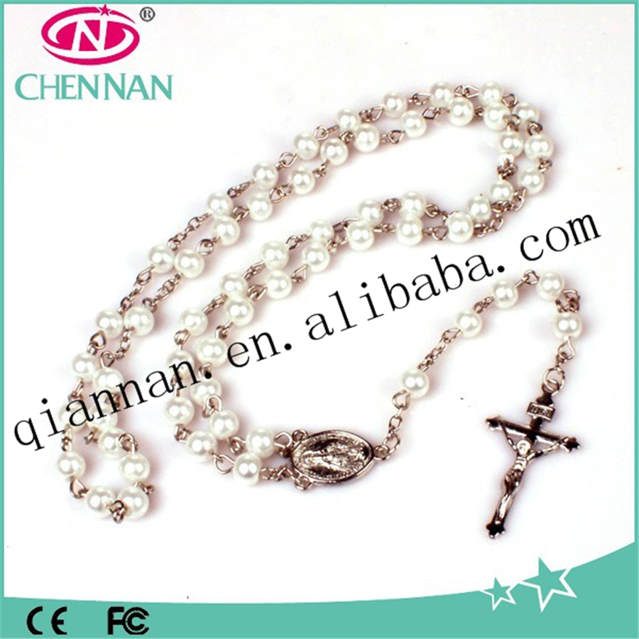 Pujiang hot sale Catholic cross necklace Christian Rosary with pearl beads