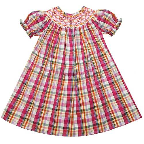 Lovely hand smocked bishop plaid dress for baby - LD 061