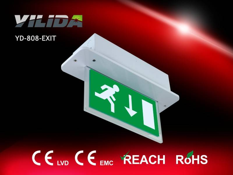 CE approved recessed installing Exit box with fluorescent tube