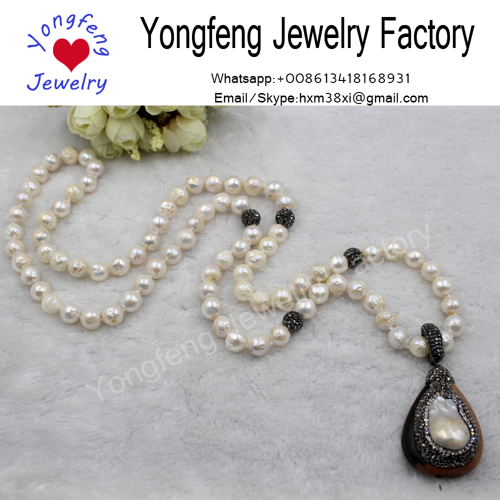 Wholesale gorgeous freshwater pearls ebony pendant necklace jewelry for gift
