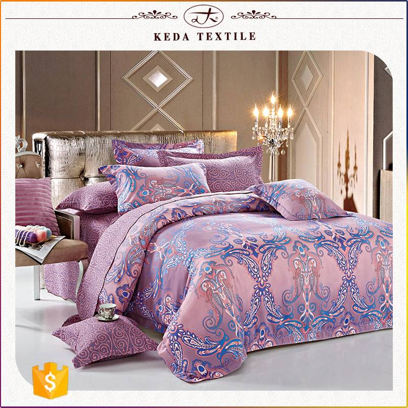 100% polyester imitation jacquard home used microfiber 110g 4pcs bed linen