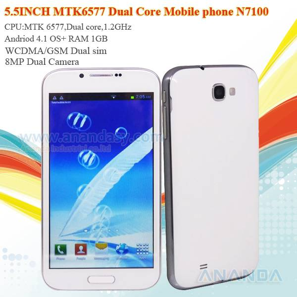 5.5inch Quad Core Android 4.2 WCDMA/GSM 3G Dual SIM Mobile Phone N7100 MTK6589