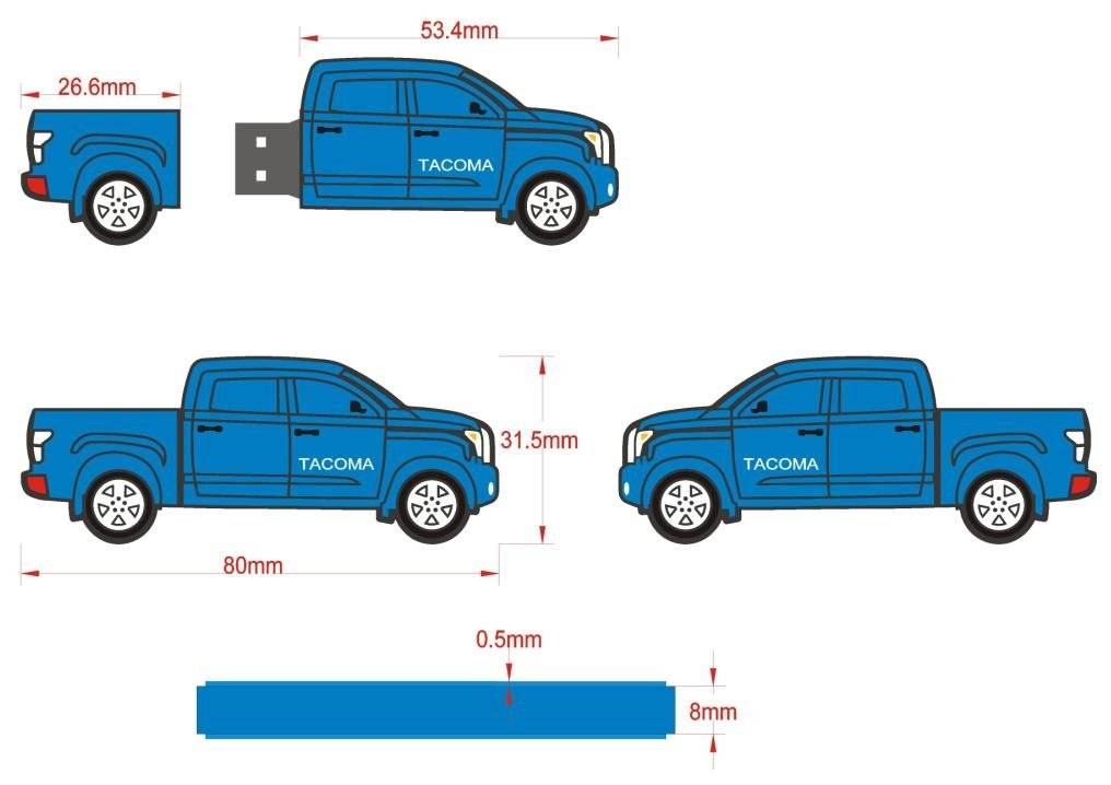 PVC Car shape usb 2.0 flash disk with logo for gifts
