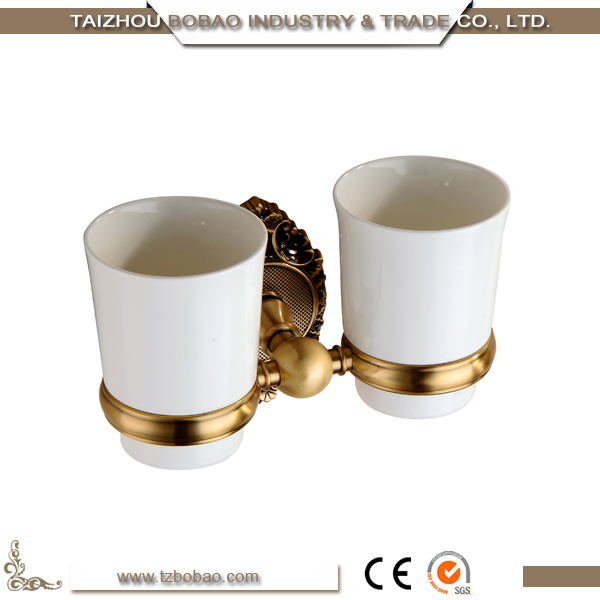 China Made Bathroom Gold Plated Copper Tumbler Holder With Double Cups