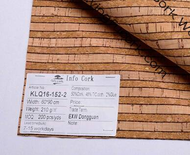 Cork Fabric Cloth Surfaced Shoes for Leather Craft Material