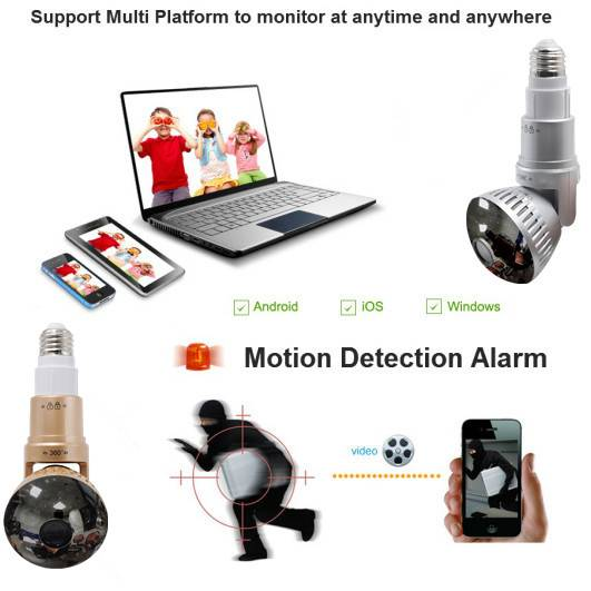 Wireless Rotatable Hidden Bulb IP Camera with LED Light and Remote Control