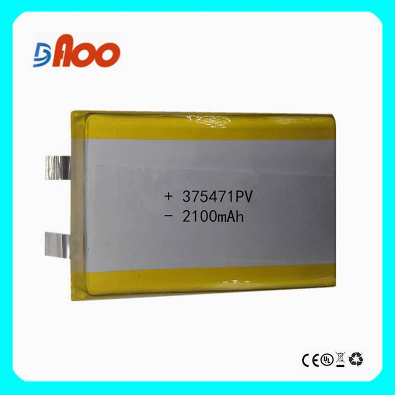 High quality 375471PV Li-polymer batteries cell 3.7V 2100mAh rechargeable battery