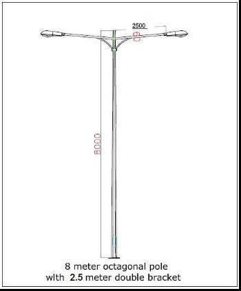 Street Light Pole 8m(Tapered Round,Octagonal,Round,Square,Etc)