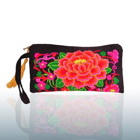 2016 hot sale peony embroidery small bag coin purse