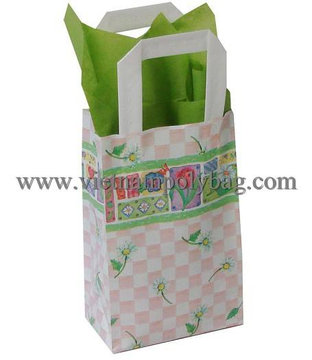 Vietnam tri fold hard handle poly plastic carrier gift bag
