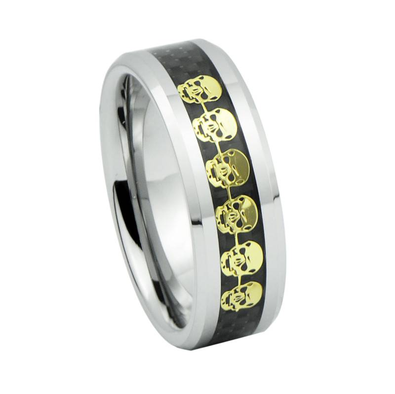 2014 Fashion Jewelry,Gold Skull Pattern Inlay Tungsten Carbide Wedding Rings