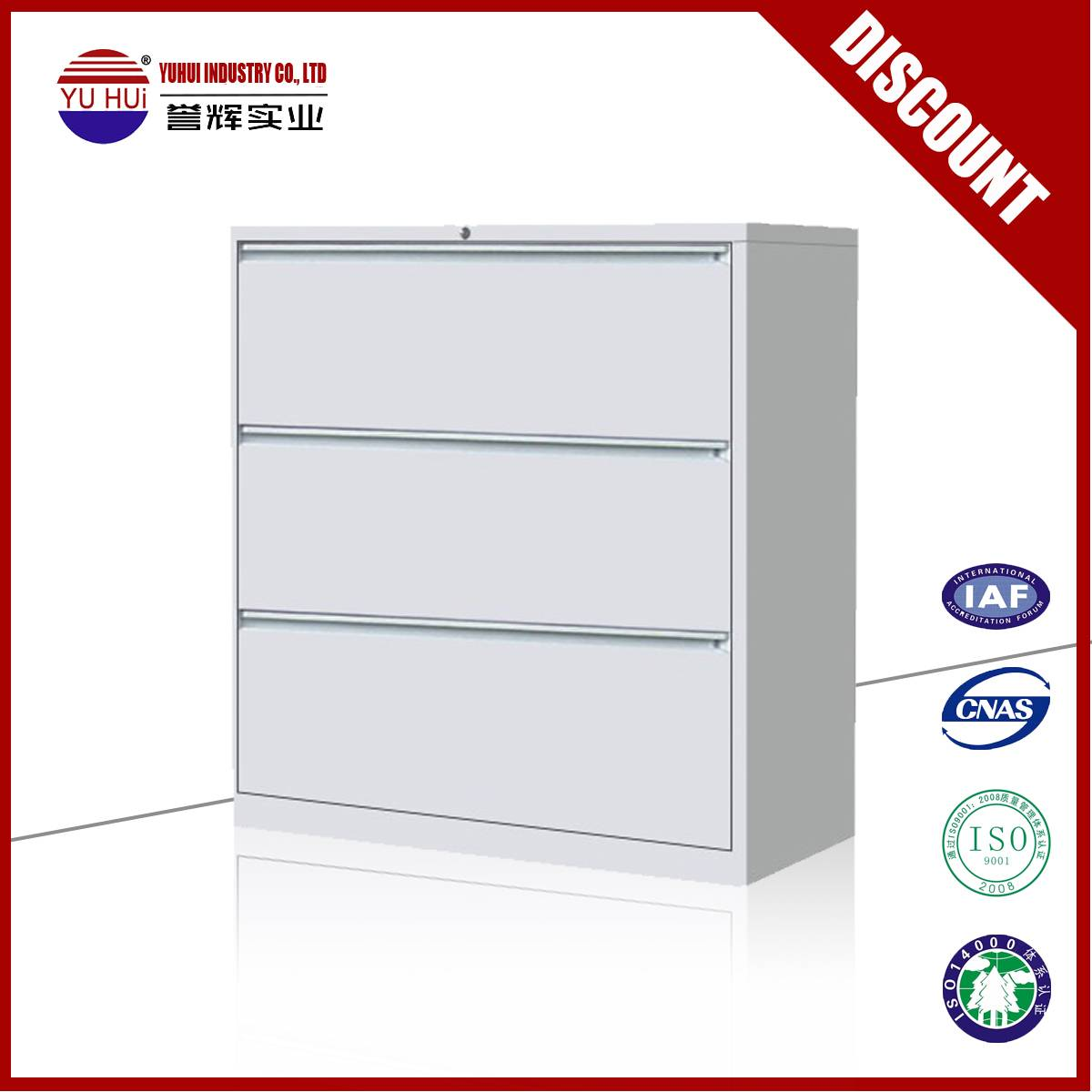 Yuhui hot selling 3 drawer cabinet in whote color