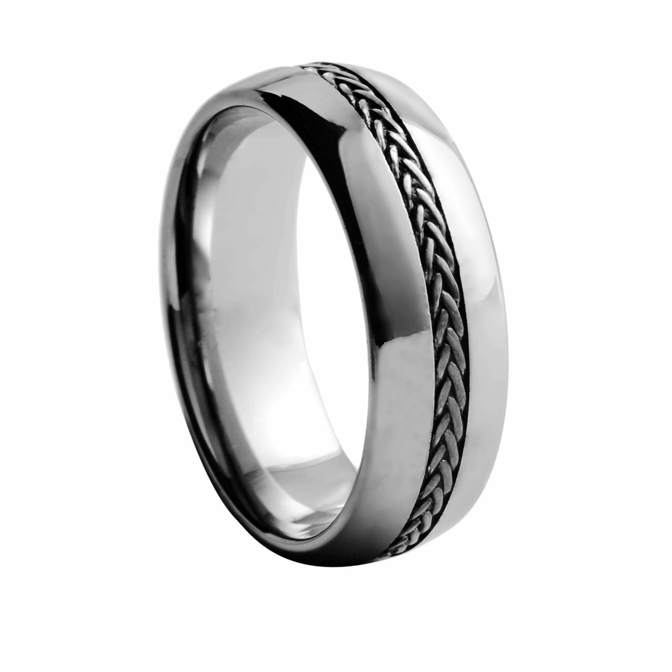 Top quality silver rope inlay tungsten carbide rings polished