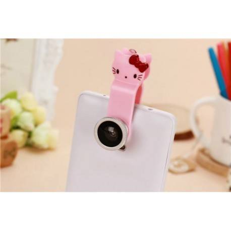 3 IN 1 Fisheye Wide angle Macro lens for Mobile phone White Pink Universal Clip Camera