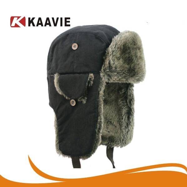 Men Earflap Bomber Hat Trooper Trapper Earflap Aviator Hat Russian Winter Hat