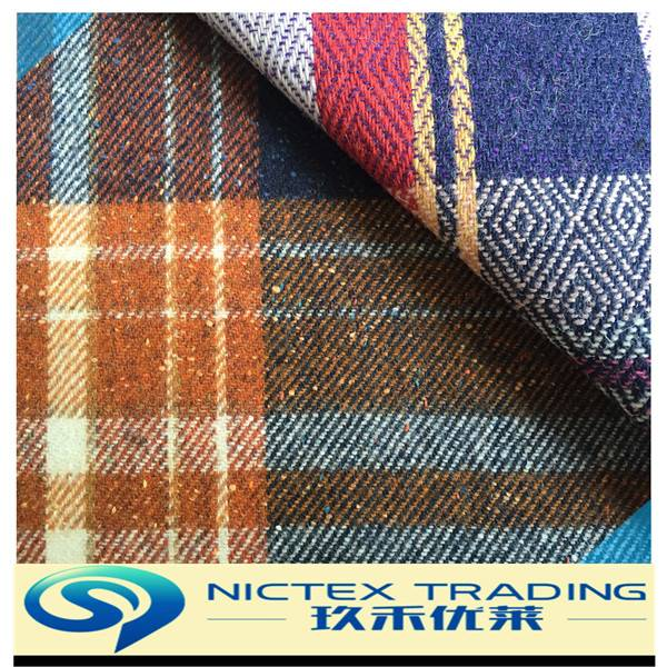 60% wool 40% polyester tweed wool check fabric supplier from China
