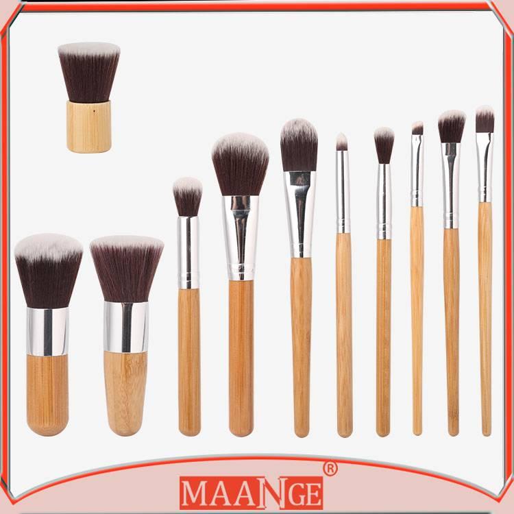 MAANGE Unique Professional 11pcs Bamboo Makeup Brush Set Nylon Hair