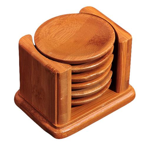 6 Piece Wood Coaster Set Bamboo Natural