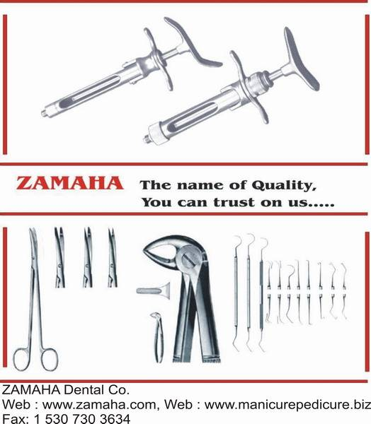 needle holder, aspirating syringes, tooth extracting forceps, chisels