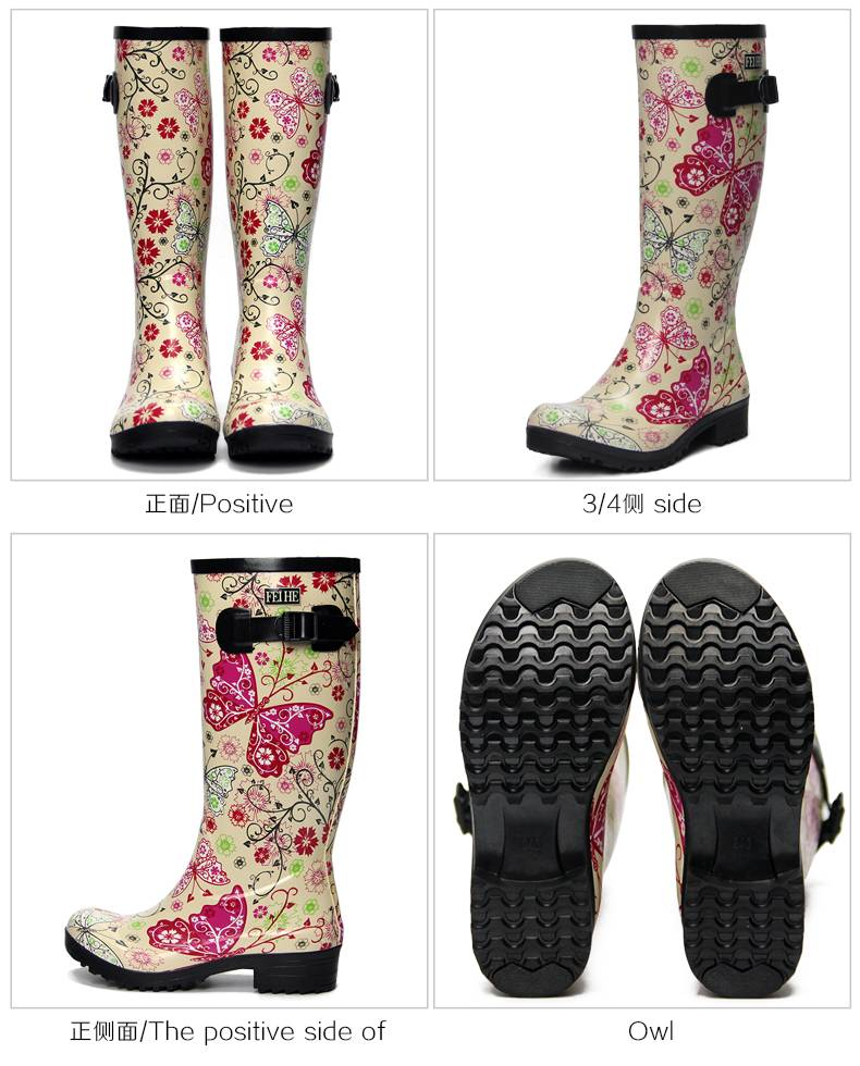 Brand New fashion ladies' mid-calf 100% butterfly low heel causal rubber boots