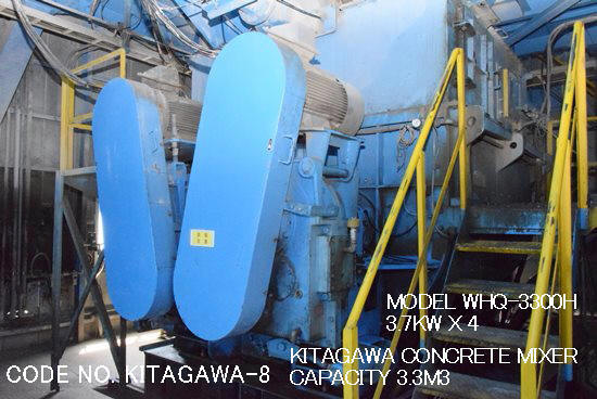 CODE No. KITAGAWA-8-3.3M3 OF CONCRETE MIXER MODEL WHQ-3300H (ZCROSS TYPE)S/No. 16Q018