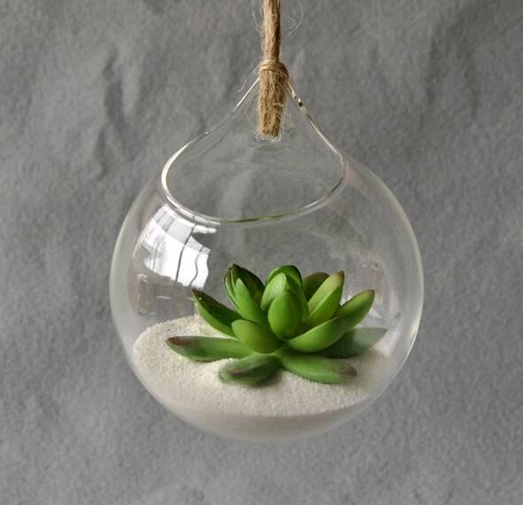hanging glass terrarium hydroponic plant vase