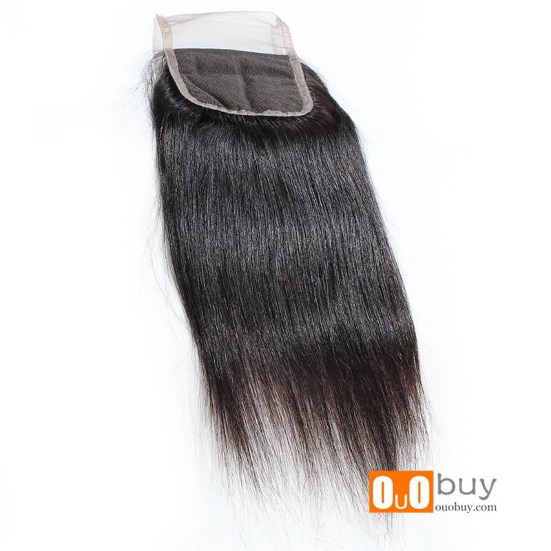 OUOHAIR High Quality 7A Grade Brazilian Hair Closure 8-16 inches Free Divide Straight Hair Toupee