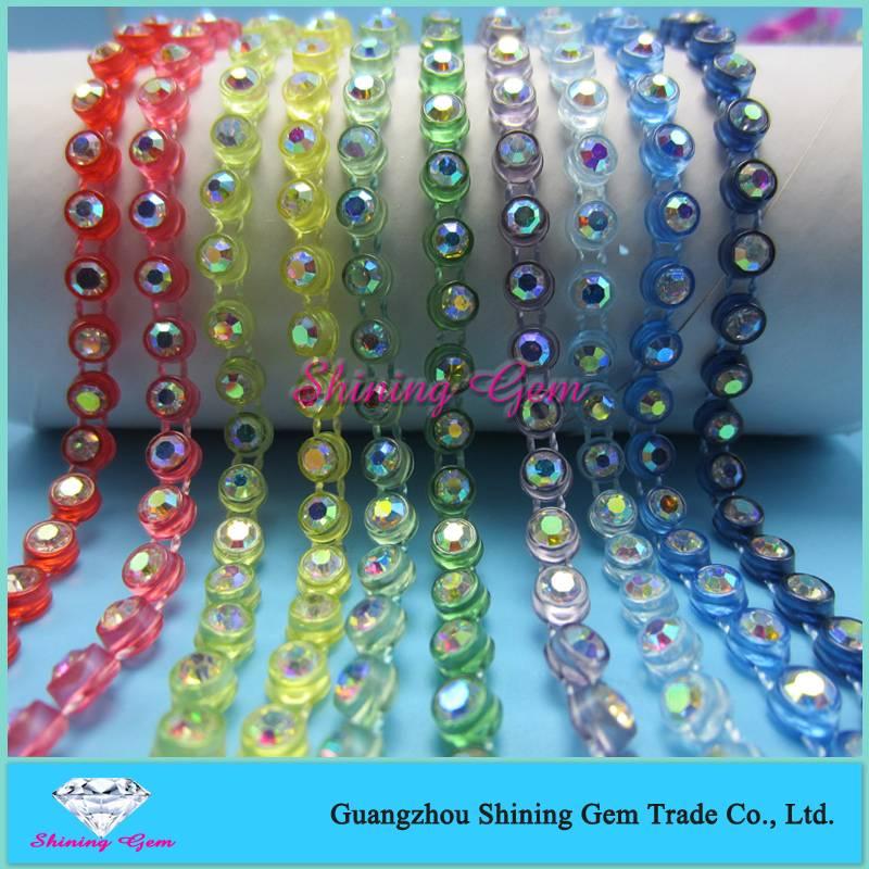 Plastic rhinestone single row banding AB ss12
