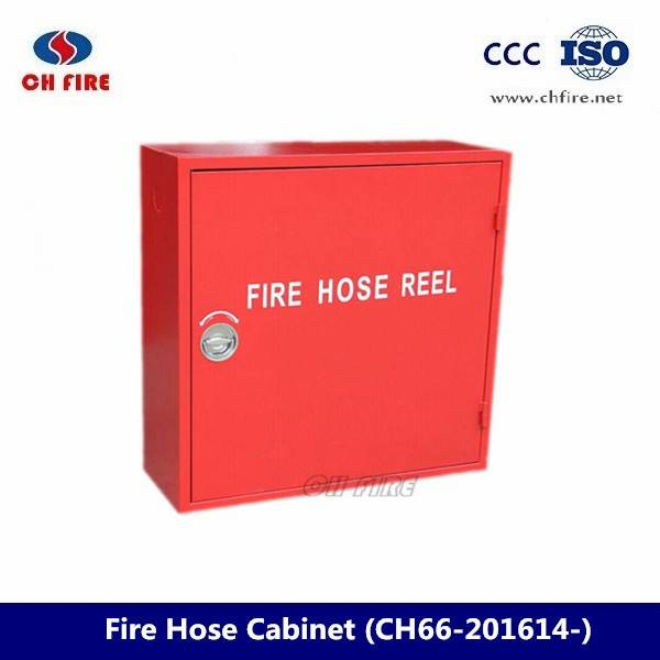 Fire hose reel cabinet with fire hose cabinet lock