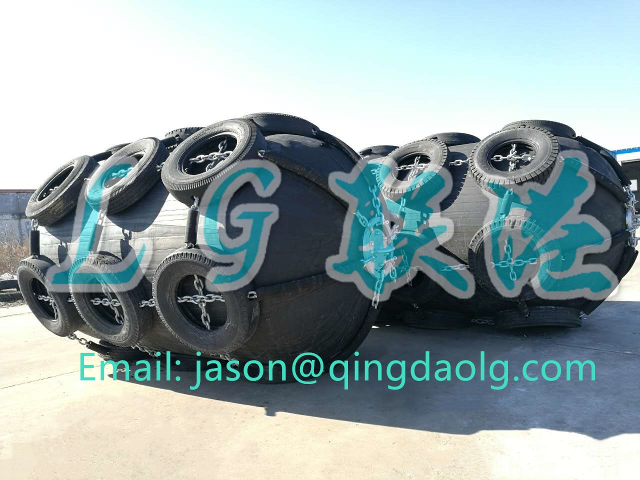 Yokohama type pneumatic rubber fender with chain and tire net