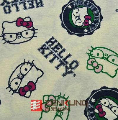 Cotton polyester brushed printed jersey farbic for garment