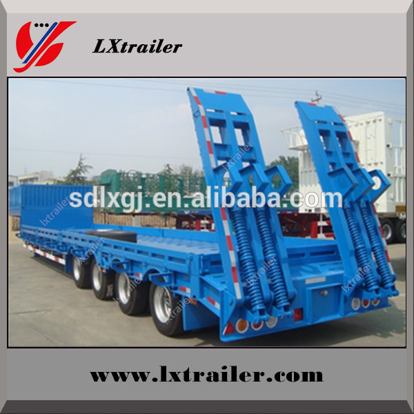 Made in china lowboy truck semi trailer /2 lines 4 axis low bed trailer