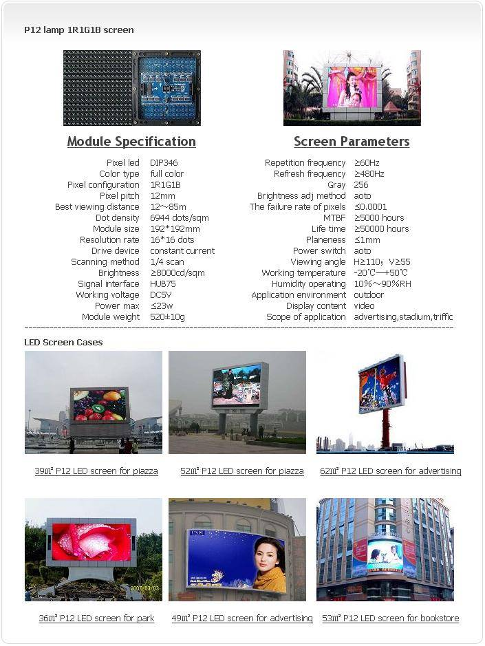 Outdoor P12 LAMP 1R1G1B LED screen