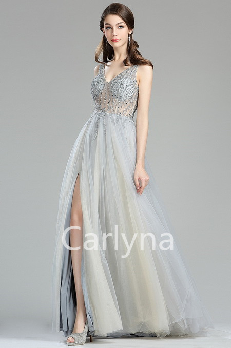 Sparkly V Cut Beaded Light Grey Evening Dresses for Women