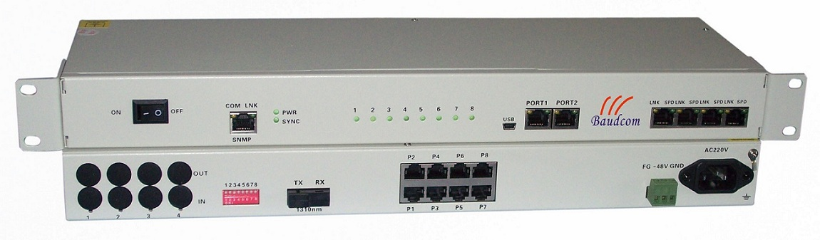 8Channel Voice(FXS/FXO) Phone over Fiber Multiplexer
