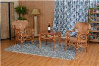 indoor Rattan Chair and tea table with solid wood frame