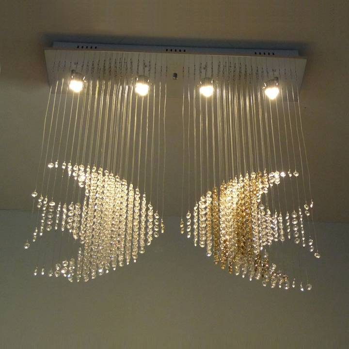 square good quality and competitive price of modern crystal ceiling light 8026-4