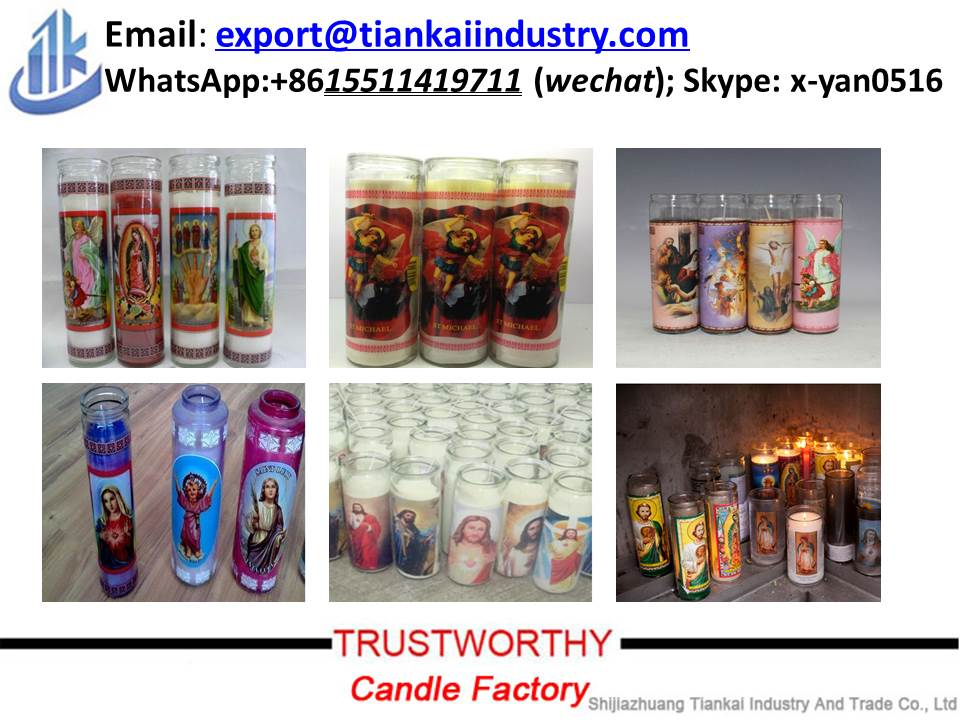 wholesale 7 days glass jars 8 inches vanilla flavour religious candle in stock