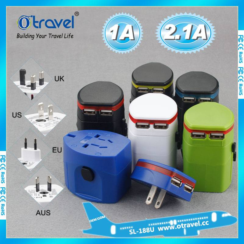 Global plugs travel adaptor with dual usb