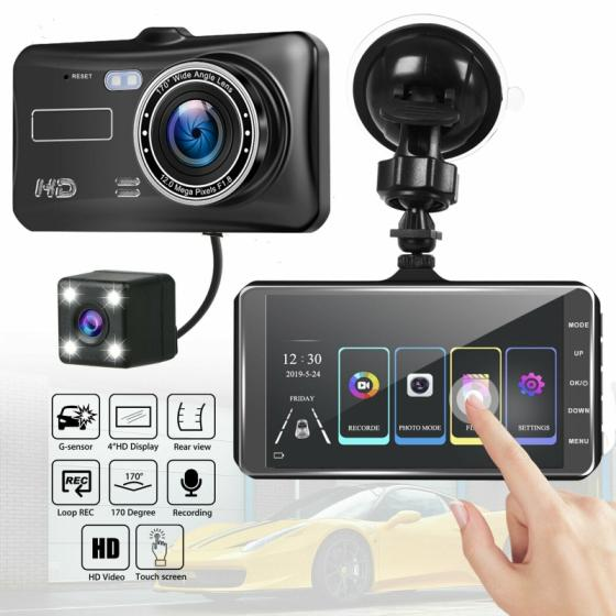 4 Car DVR Dual Lens HD 1080P Dash Cam Video Recorder Camera Touch Screen New