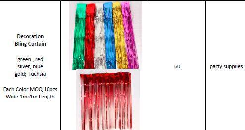 Offer Various Size / Colors Party & Decoration Bling Curtain