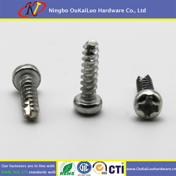 Cross recessed round head thread cutting screws with Clear Zinc