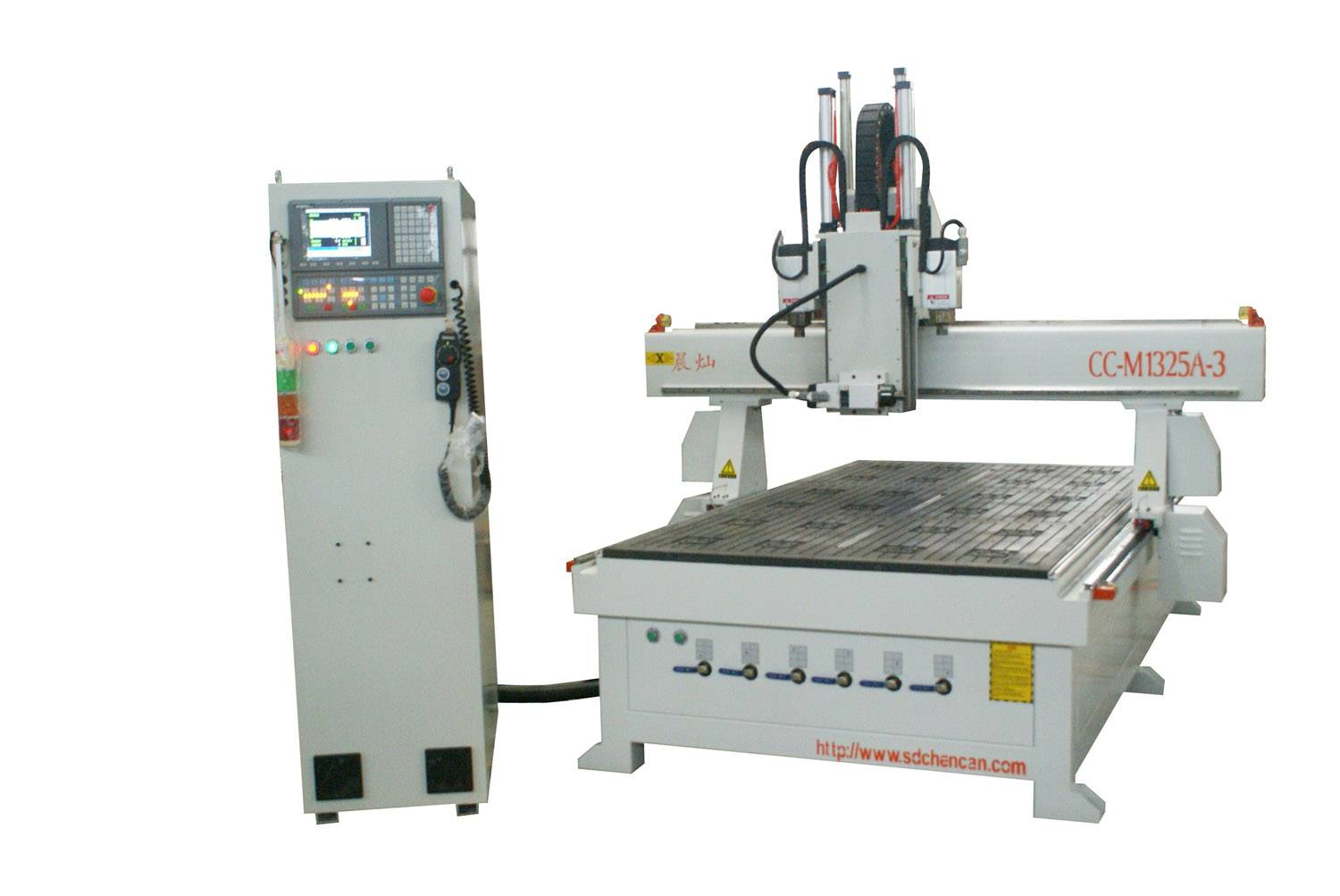 Three workstages wood CNC router with two sides drrlling Head