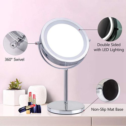 Hot selling professional round lighted cosmetic standing make up mirror magnifying led makeup mirror